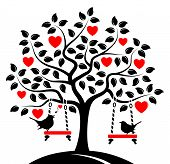 pic of swings  - vector heart tree with swings and couple of birds isolated on white background - JPG