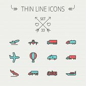 foto of fire truck  - Transportation thin line icon set for web and mobile - JPG