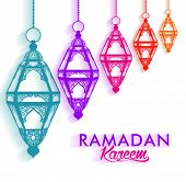 image of occasion  - Colorful Elegant Ramadan Kareem Lanterns or Fanous Hanging in White Background with Shadow for the Holy Month Occasion of fasting - JPG