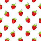stock photo of strawberry plant  - seamless pattern with strawberry on a white backgrownd - JPG