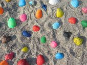 picture of beach shell art  - Horizontal background with colored shells and sand - JPG