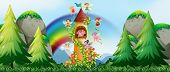 image of fairies  - Fairies flying around the castle tower - JPG