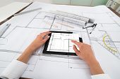 stock photo of blueprints  - Close - JPG