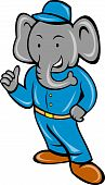 Cartoon elephant busboy bellboy posing