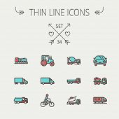 foto of tank truck  - Transportation thin line icon set for web and mobile - JPG