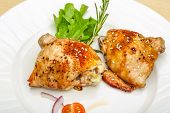 picture of roast chicken  - Roasted chicken thighs with herbs and spices - JPG