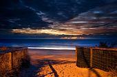 entry to beach at dawn