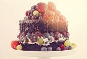 stock photo of cream cake  - Double layer chocolate mud cake with whipped cream and fruit on white cake stand with applied retro style filters and added lens flare sun light - JPG