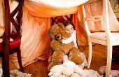 image of teddy  - Happy smiling girl in pajamas hugging teddy bear at self - JPG