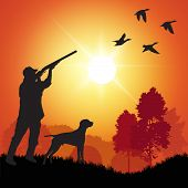 stock photo of duck-hunting  - Silhouette of men on the duck hunting - JPG