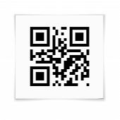 stock photo of qr-code  - QR Code on white paper sticker with shadow - JPG