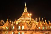 stock photo of yangon  - Shwedagon Pagoda At Night - JPG