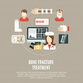 foto of fracture  - Fracture bone treatment concept with flat healthcare icons set vector illustration - JPG