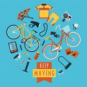 foto of sportswear  - Cycling sportswear and accessories for active healthy lifestyle flat icons composition circle print poster abstract vector illustration - JPG
