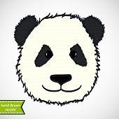 stock photo of pandas  - Cute hand drawn panda - JPG