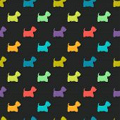 image of westie  - Seamless pattern with colorful dog silhouettes on black background - JPG