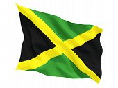 picture of waving  - Waving flag of jamaica isolated on white - JPG