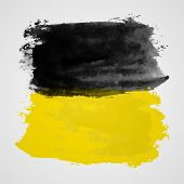 picture of dab  - Watercolor vector illustration or banner with black and yellow brush dabs on gray background - JPG
