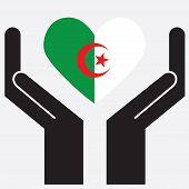 foto of algeria  - Hand showing Algeria flag in a heart shape - JPG