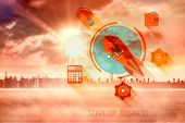 image of start over  - start up business graphic against sun shining over city - JPG