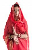 pic of sari  - Portrait of charming East woman posing in sari - JPG