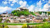 stock photo of mozart  - view of Salzburg with fortress Hohensalzburg - JPG