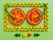 pic of corn  - background of peas and corn laid by hand - JPG