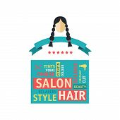 stock photo of ombre  - Vector flat illustration Hair Salon Labels and Icons for price with worldcloud - JPG
