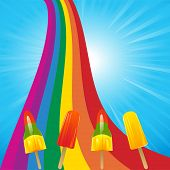 foto of lolli  - Ice Lollies on a Multicolor Rainbow and a Blue Sky - JPG