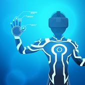 picture of futuristic  - Man in a virtual reality helmet - JPG