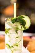 image of mojito  - Mint Mojito with garnishes at the bar - JPG