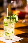 picture of mojito  - Mint Mojito with garnishes at the bar - JPG