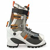 picture of ski boots  - Rubber boots with locks on a white background isolated - JPG