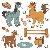 foto of saddle-horse  - Set of cute farm animals and objects vector family horse - JPG