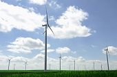 foto of wind-farm  - Wind turbine farm on a green field in springtime - JPG