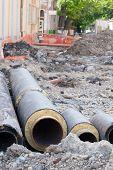 image of underground water  - Underground water pipeline replacement on street  - JPG