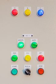 stock photo of electricity meter  - Control panel switch button for main engine room can use to monitor control electricity in building - JPG