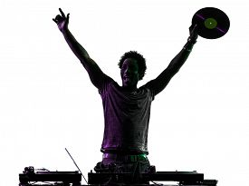 picture of disc jockey  - one disc jockey man happy joy arms raised in silhouette on white background - JPG