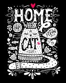 Home Is Where A Cat Is. Inspirational Quote With A Pet. Hand Drawn Vintage Illustration With Hand-le poster