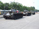 Thai military tanks in Bangkok.