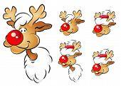 Different christmas reindeer heads