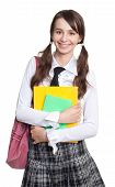 picture of teen pony tail  - Happy teenage schoolgirl with books backpack and ponytails - JPG