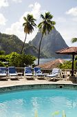 Swimming Pool View Of Piton Mountains  Caribbean Sea Soufriere St. Lucia