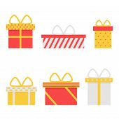 Present box isolated icons on white background. poster