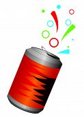 Aluminum can with a refreshing drink
