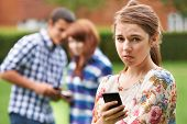Teenage Girl Victim Of Bullying By Text Messaging poster