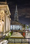 St Martin In The Fields, From The National Gallery, Trafalgar Square, London, England, Uk, At Night