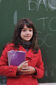 Happy School Girl On Math Classes