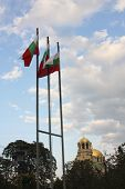 The St. Alexander Nevsky Cathedral And Bulgarian Flags.