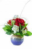 Beautiful Red And White Roses Bouquet In Blue Vase On White Background, Vertical